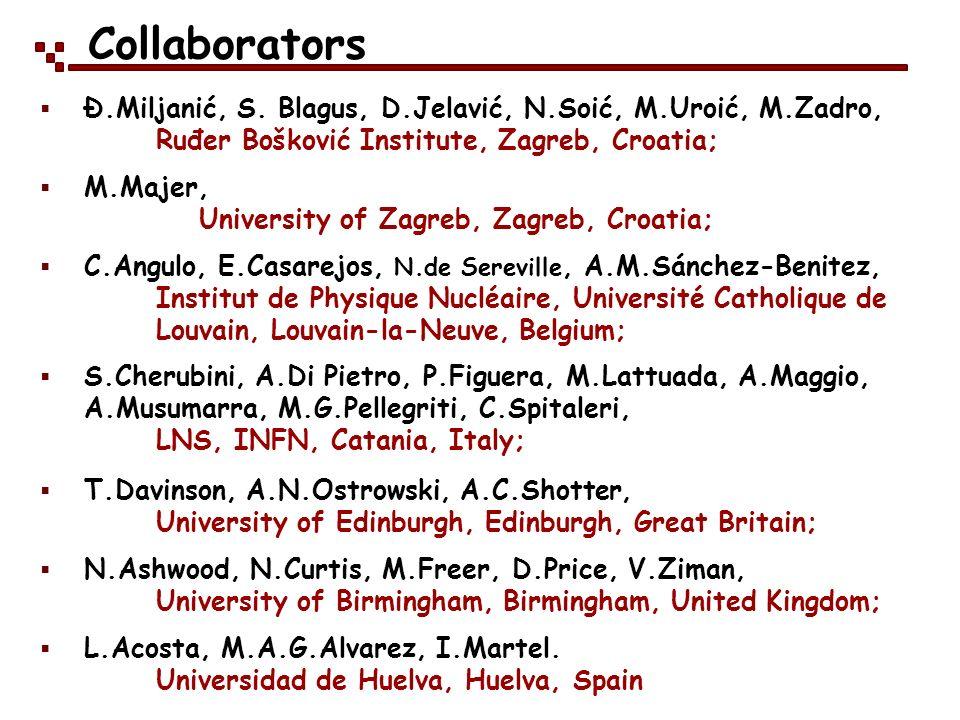 Collaborators Ð.Miljanić, S. Blagus, D.Jelavić, N.Soić, M.Uroić, M.Zadro, Ruđer Bošković Institute, Zagreb, Croatia; M.Majer, University of Zagreb, Za
