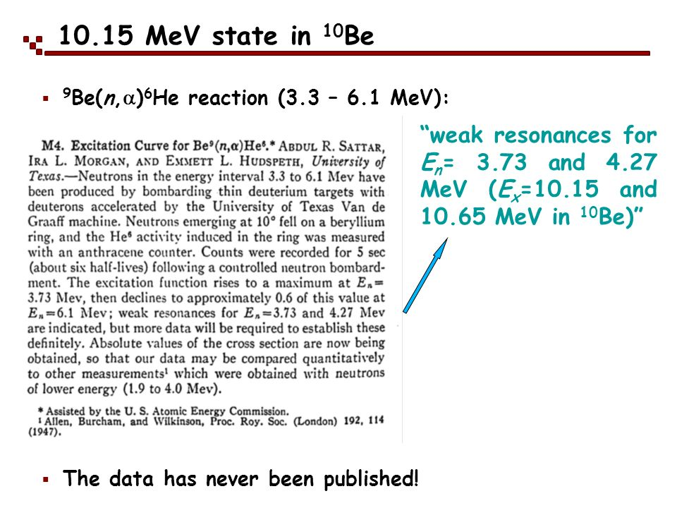 10.15 MeV state in 10 Be The data has never been published! weak resonances for E n = 3.73 and 4.27 MeV (E x =10.15 and 10.65 MeV in 10 Be) 9 Be(n, )