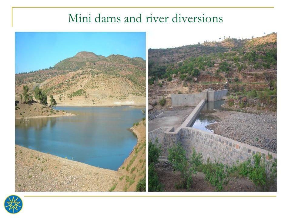 Mini dams and river diversions