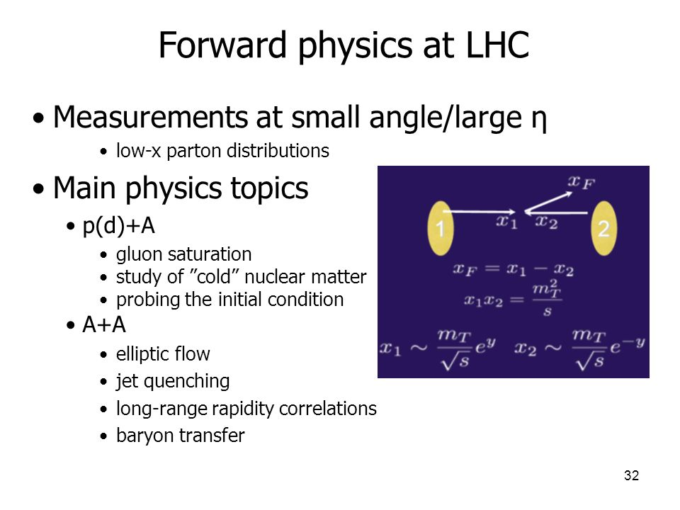 32 Forward physics at LHC Measurements at small angle/large η low-x parton distributions Main physics topics p(d)+A gluon saturation study of cold nuclear matter probing the initial condition A+A elliptic flow jet quenching long-range rapidity correlations baryon transfer