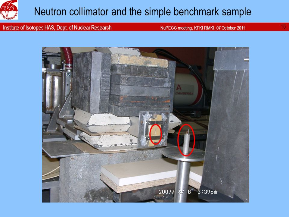Institute of Isotopes HAS, Dept. of Nuclear Research NuPECC meeting, KFKI RMKI, 07 October 2011 Neutron collimator and the simple benchmark sample 15