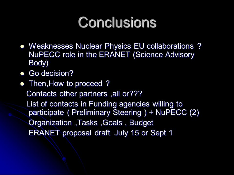 Conclusions Weaknesses Nuclear Physics EU collaborations .