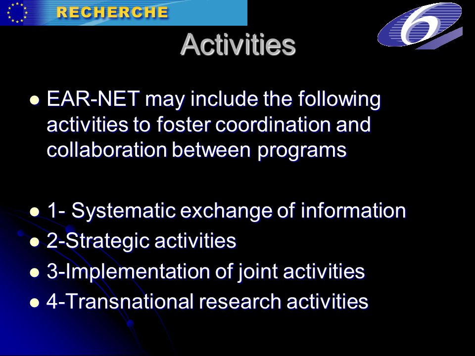 Activities EAR-NET may include the following activities to foster coordination and collaboration between programs EAR-NET may include the following activities to foster coordination and collaboration between programs 1- Systematic exchange of information 1- Systematic exchange of information 2-Strategic activities 2-Strategic activities 3-Implementation of joint activities 3-Implementation of joint activities 4-Transnational research activities 4-Transnational research activities