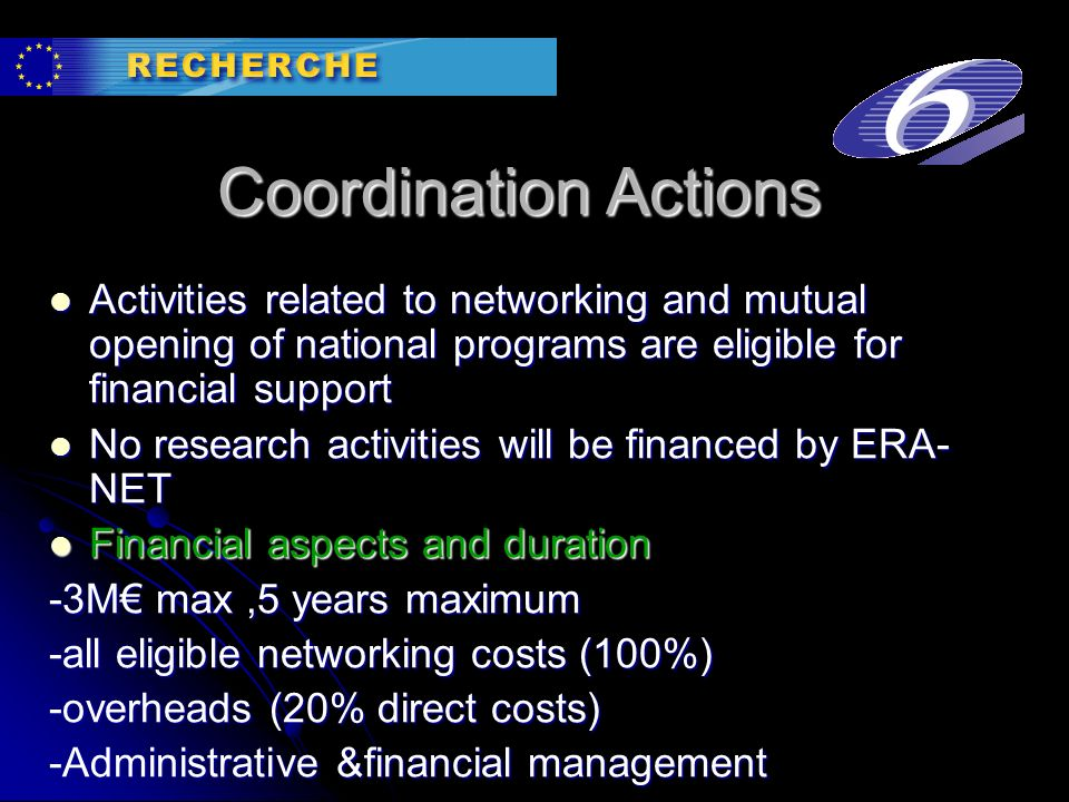 Coordination Actions Activities related to networking and mutual opening of national programs are eligible for financial support Activities related to networking and mutual opening of national programs are eligible for financial support No research activities will be financed by ERA- NET No research activities will be financed by ERA- NET Financial aspects and duration Financial aspects and duration -3M max,5 years maximum -all eligible networking costs (100%) -overheads (20% direct costs) -Administrative &financial management