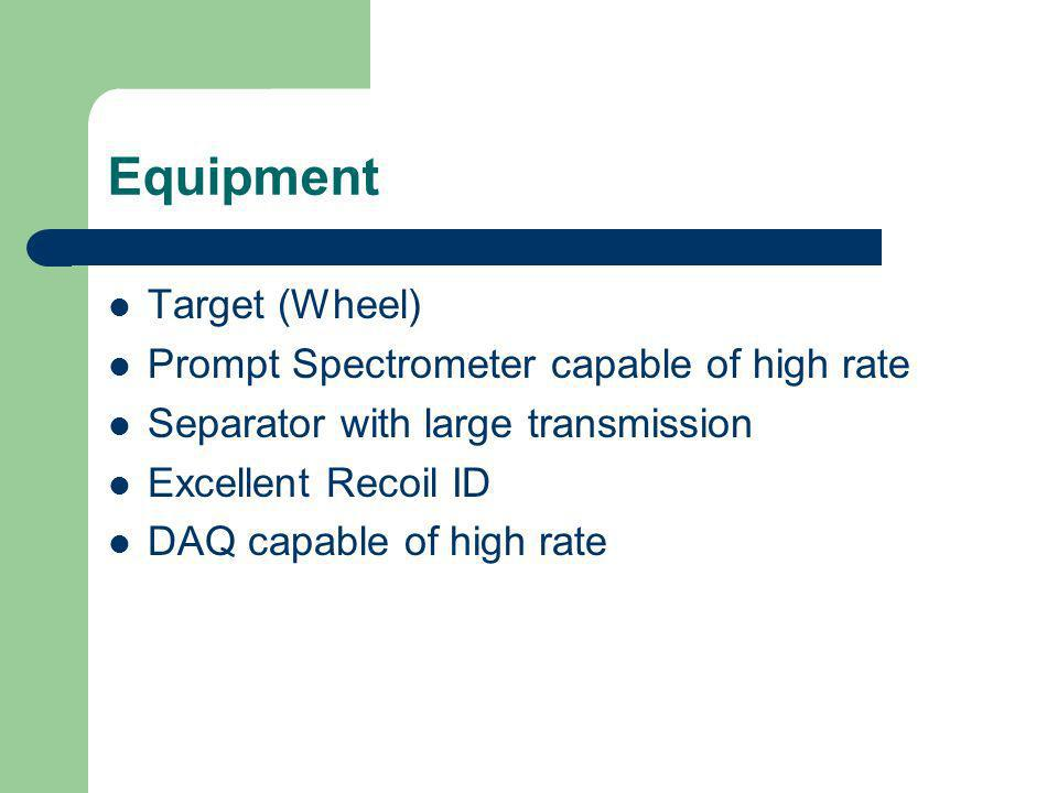 Equipment Target (Wheel) Prompt Spectrometer capable of high rate Separator with large transmission Excellent Recoil ID DAQ capable of high rate