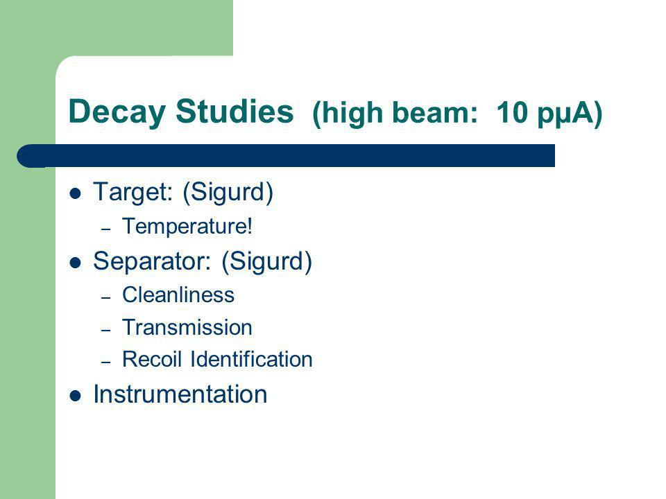 Decay Studies (high beam: 10 pµA) Target: (Sigurd) – Temperature! Separator: (Sigurd) – Cleanliness – Transmission – Recoil Identification Instrumenta