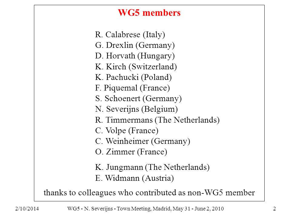 2/10/2014WG5 - N. Severijns - Town Meeting, Madrid, May 31 - June 2, 20102 WG5 members R. Calabrese (Italy) G. Drexlin (Germany) D. Horvath (Hungary)