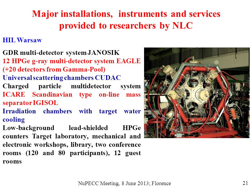 NuPECC Meeting, 8 June 2013; Florence 21 HIL Warsaw GDR multi-detector system JANOSIK 12 HPGe g-ray multi-detector system EAGLE (+20 detectors from Gamma-Pool) Universal scattering chambers CUDAC Charged particle multidetector system ICARE Scandinavian type on-line mass separator IGISOL Irradiation chambers with target water cooling Low-background lead-shielded HPGe counters Target laboratory, mechanical and electronic workshops, library, two conference rooms (120 and 80 participants), 12 guest rooms Major installations, instruments and services provided to researchers by NLC