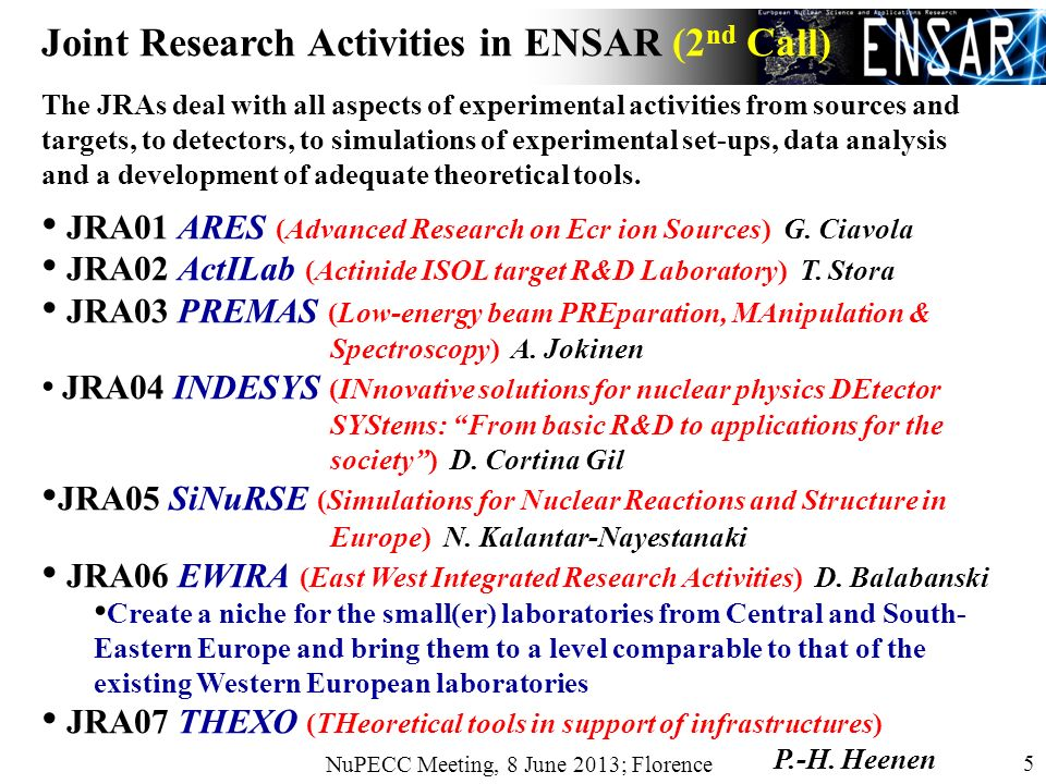 NuPECC Meeting, 8 June 2013; Florence 5 Joint Research Activities in ENSAR (2 nd Call) The JRAs deal with all aspects of experimental activities from sources and targets, to detectors, to simulations of experimental set-ups, data analysis and a development of adequate theoretical tools.