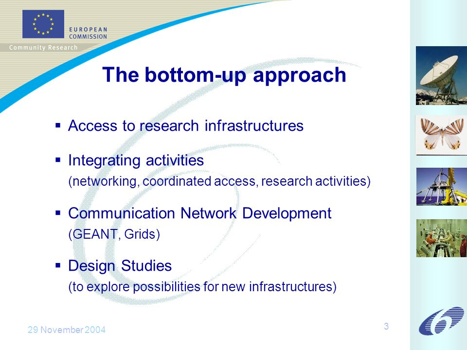 29 November 2004 3 The bottom-up approach Access to research infrastructures Integrating activities (networking, coordinated access, research activities) Communication Network Development (GEANT, Grids) Design Studies (to explore possibilities for new infrastructures)
