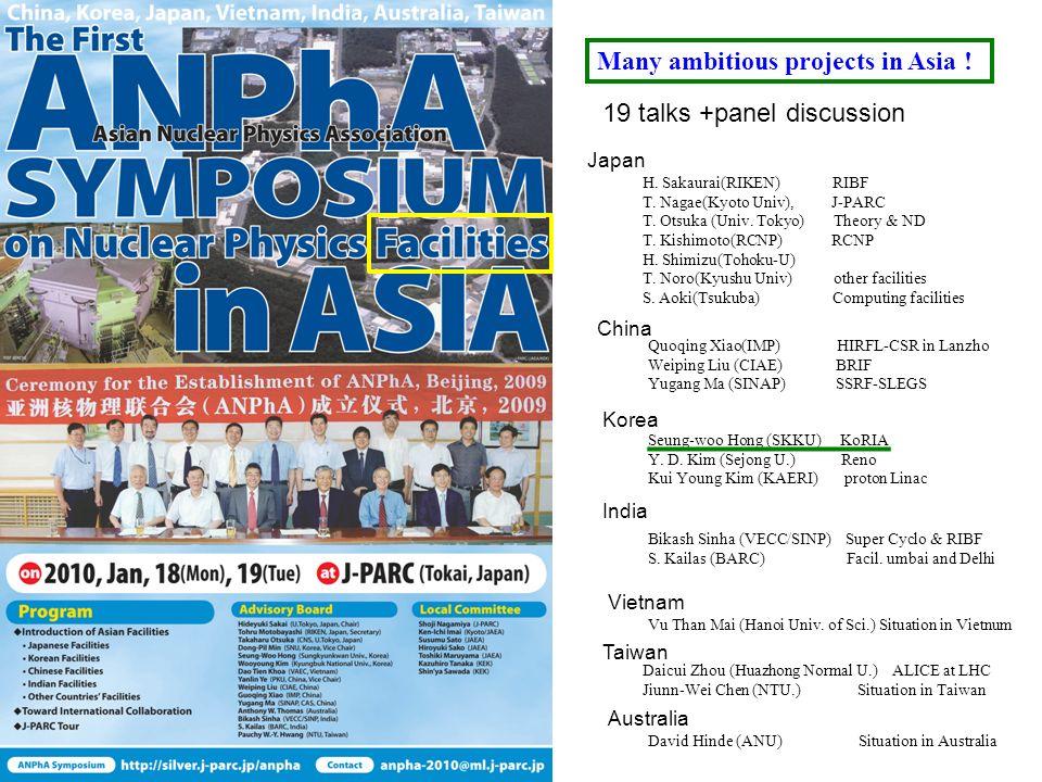 19 talks +panel discussion Japan H. Sakaurai(RIKEN) RIBF T. Nagae(Kyoto Univ), J-PARC T. Otsuka (Univ. Tokyo) Theory & ND T. Kishimoto(RCNP) RCNP H. S