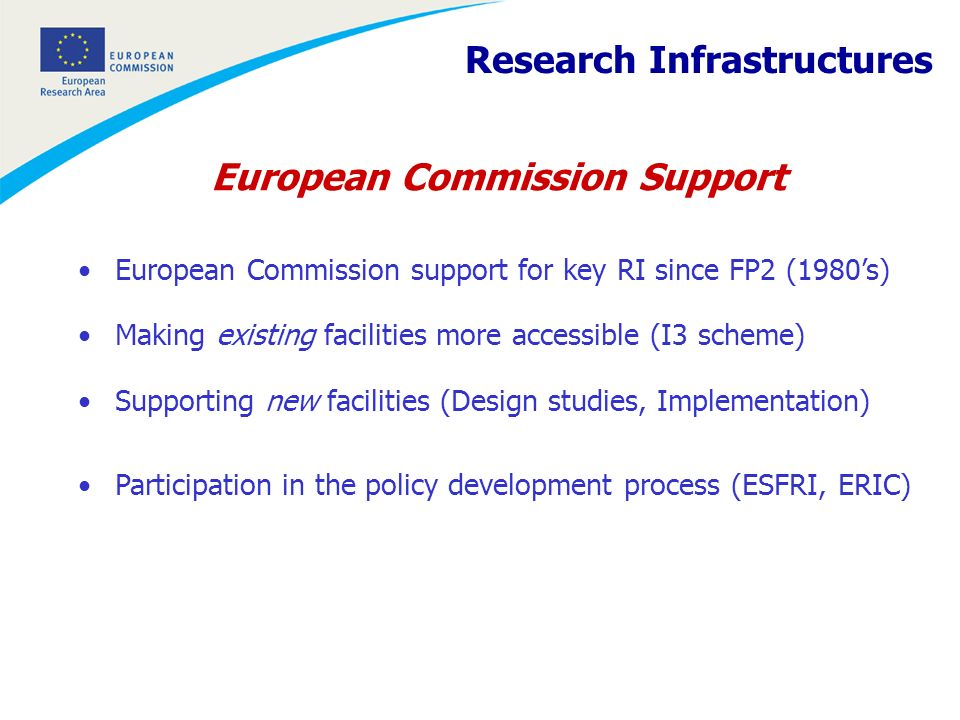 European Commission policy on RI … a key component for the construction of the Research Infrastructures European Research Area The aim is to give researchers, research institutions and businesses access to a Europe-wide open space for knowledge and technologies in which transnational synergies and complementarities are fully exploited.