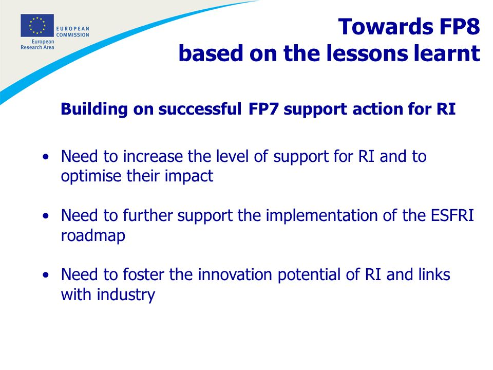 Building on successful FP7 support action for RI Need to increase the level of support for RI and to optimise their impact Need to further support the