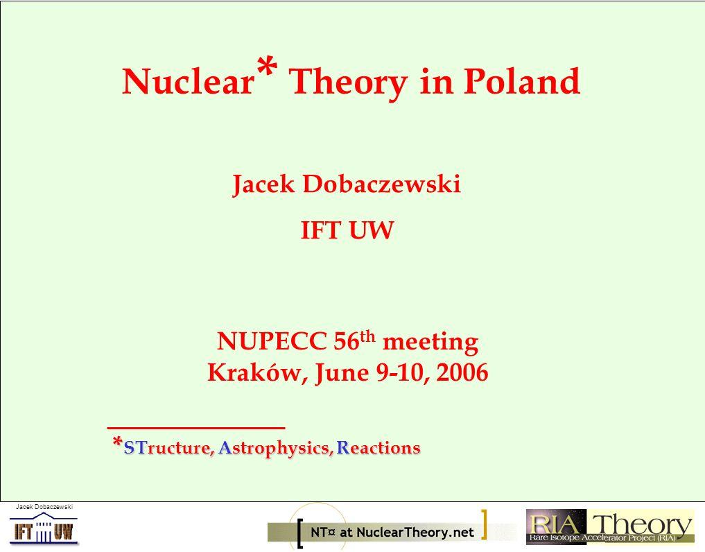 Jacek Dobaczewski Nuclear * Theory in Poland Jacek Dobaczewski IFT UW NUPECC 56 th meeting Kraków, June 9-10, 2006 * STructure, Astrophysics, Reactions