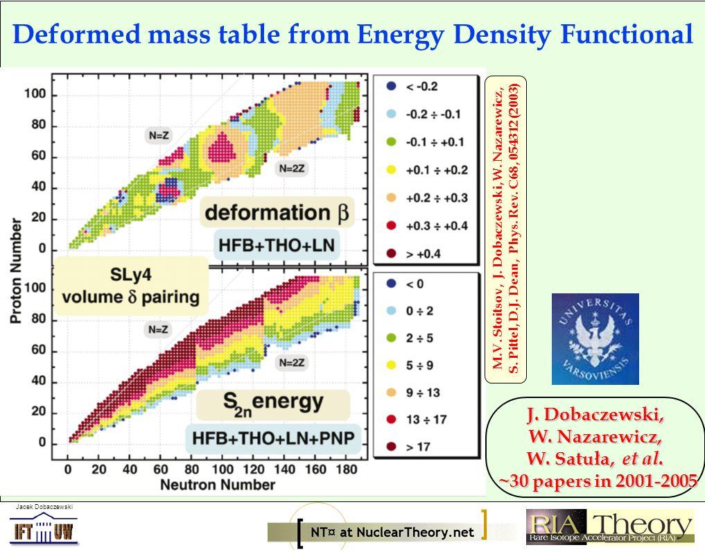 Jacek Dobaczewski Deformed mass table from Energy Density Functional M.V.