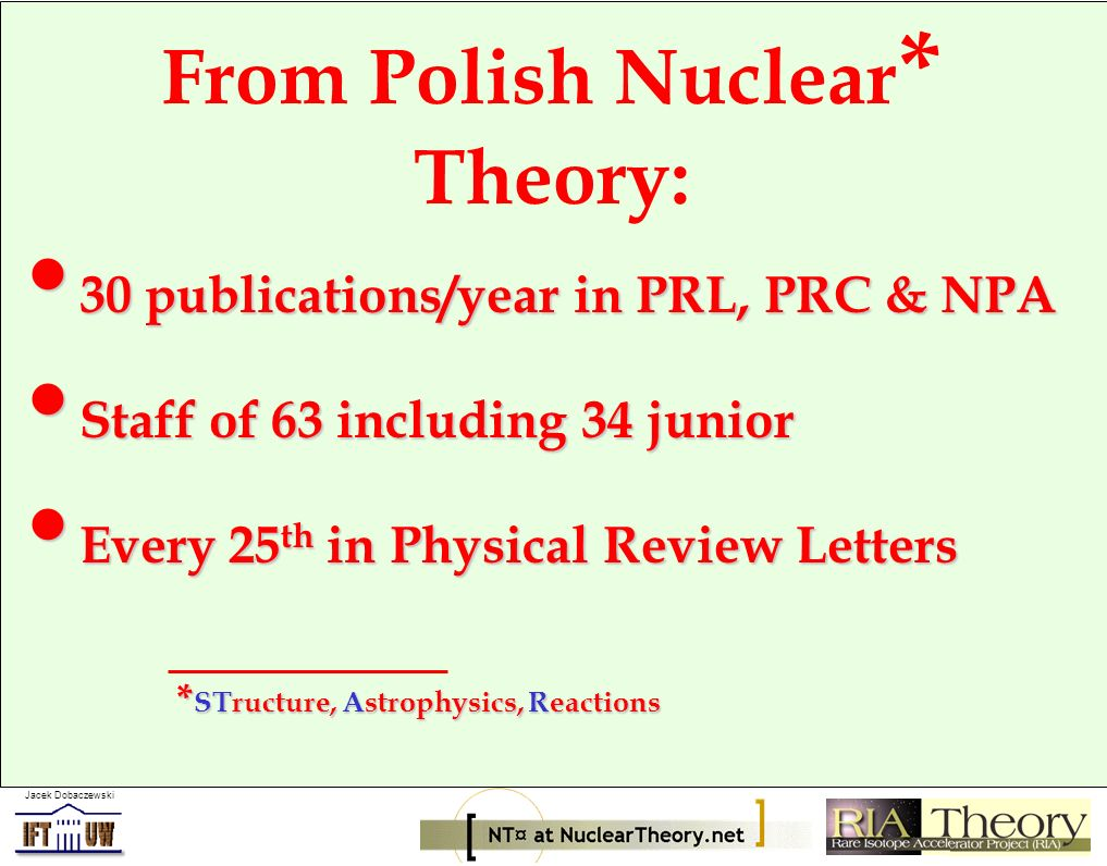 Jacek Dobaczewski From Polish Nuclear * Theory: 30 publications/year in PRL, PRC & NPA 30 publications/year in PRL, PRC & NPA Staff of 63 including 34
