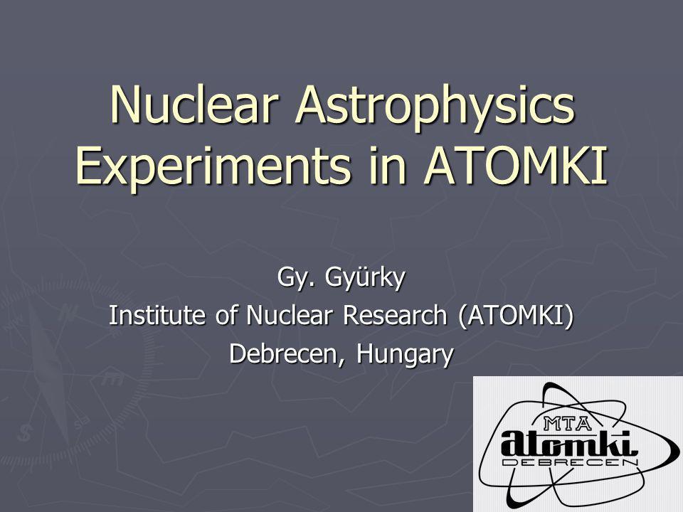 Institute of Nuclear Research (ATOMKI) Debrecen Nuclear Astrophysics group: Z.