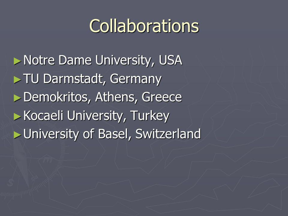 Collaborations Notre Dame University, USA Notre Dame University, USA TU Darmstadt, Germany TU Darmstadt, Germany Demokritos, Athens, Greece Demokritos, Athens, Greece Kocaeli University, Turkey Kocaeli University, Turkey University of Basel, Switzerland University of Basel, Switzerland