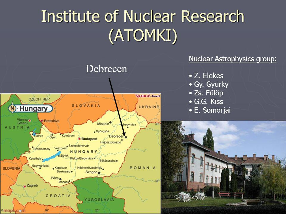 Institute of Nuclear Research (ATOMKI) Debrecen Nuclear Astrophysics group: Z.