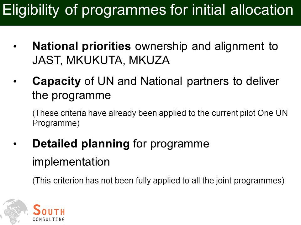 UN in Tanzania Criteria for allocation of One UN Fund resources Comments