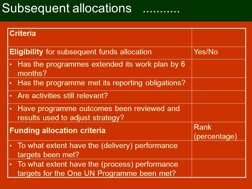 One UN Fund allocation cycle Subsequent fund allocations to be determined by the programme reporting cycle developed by the RCO and approved by the MDTFO Subsequent fund allocation linked to the output and outcome evaluation cycle Information to be used to assess criteria for fund allocation will be sourced from these two reporting processes