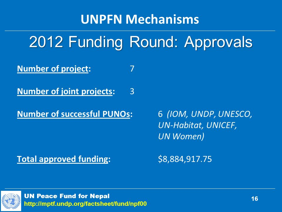 2012 Funding Round: Approvals UN Peace Fund for Nepal   16 Number of project:7 Number of joint projects:3 Number of successful PUNOs:6 (IOM, UNDP, UNESCO, UN-Habitat, UNICEF, UN Women) Total approved funding:$8,884, UNPFN Mechanisms