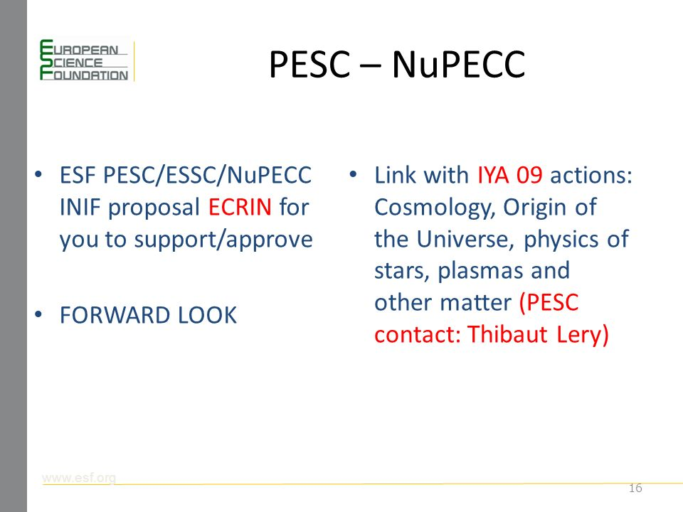 PESC – NuPECC ESF PESC/ESSC/NuPECC INIF proposal ECRIN for you to support/approve FORWARD LOOK Link with IYA 09 actions: Cosmology, Origin of the Universe, physics of stars, plasmas and other matter (PESC contact: Thibaut Lery) 16