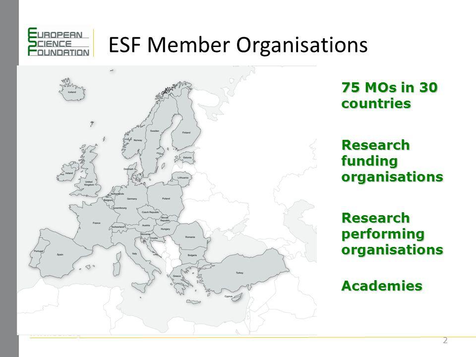 www.esf.org ESF Member Organisations 2 75 MOs in 30 countries Research funding organisations Research performing organisations Academies