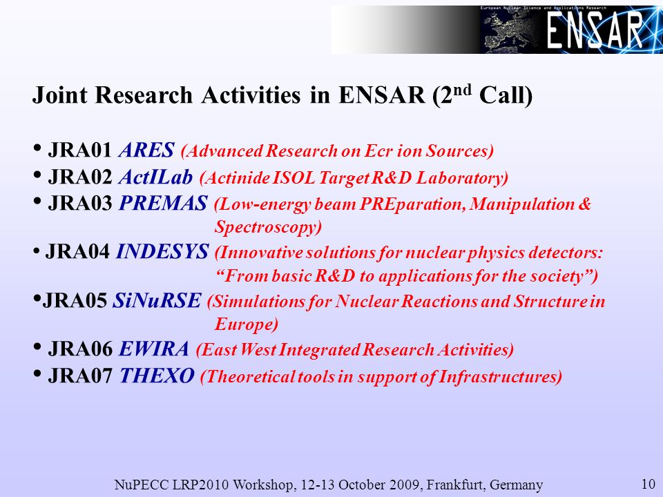 NuPECC LRP2010 Workshop, 12-13 October 2009, Frankfurt, Germany 10 Joint Research Activities in ENSAR (2 nd Call) JRA01 ARES (Advanced Research on Ecr ion Sources) JRA02 ActILab (Actinide ISOL Target R&D Laboratory) JRA03 PREMAS (Low-energy beam PREparation, Manipulation & Spectroscopy) JRA04 INDESYS (Innovative solutions for nuclear physics detectors: From basic R&D to applications for the society) JRA05 SiNuRSE (Simulations for Nuclear Reactions and Structure in Europe) JRA06 EWIRA (East West Integrated Research Activities) JRA07 THEXO (Theoretical tools in support of Infrastructures)