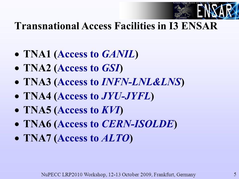 NuPECC LRP2010 Workshop, 12-13 October 2009, Frankfurt, Germany 5 Transnational Access Facilities in I3 ENSAR TNA1 (Access to GANIL) TNA2 (Access to GSI) TNA3 (Access to INFN-LNL&LNS) TNA4 (Access to JYU-JYFL) TNA5 (Access to KVI) TNA6 (Access to CERN-ISOLDE) TNA7 (Access to ALTO)