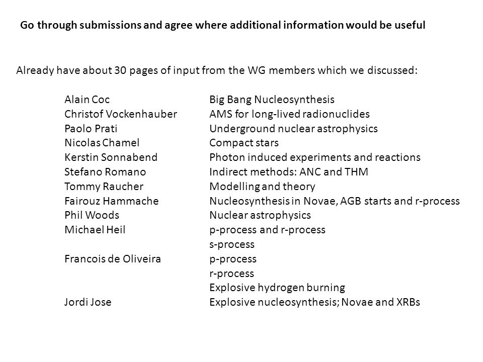 Go through submissions and agree where additional information would be useful Already have about 30 pages of input from the WG members which we discus