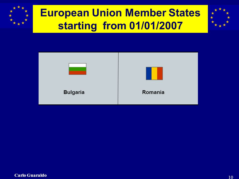 Carlo Guaraldo 10 BulgariaRomania European Union Member States starting from 01/01/2007