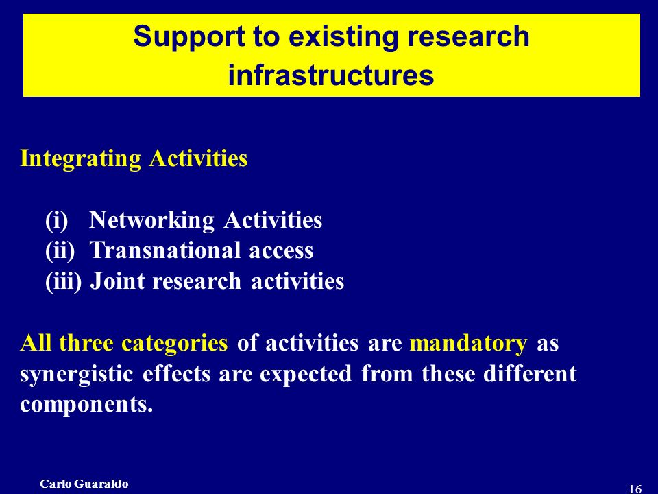 Carlo Guaraldo 16 Support to existing research infrastructures Integrating Activities (i) Networking Activities (ii) Transnational access (iii) Joint research activities All three categories of activities are mandatory as synergistic effects are expected from these different components.