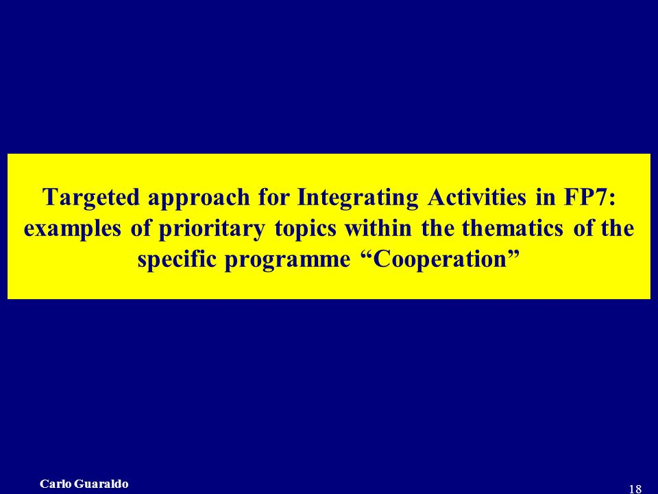 Carlo Guaraldo 18 Targeted approach for Integrating Activities in FP7: examples of prioritary topics within the thematics of the specific programme Cooperation