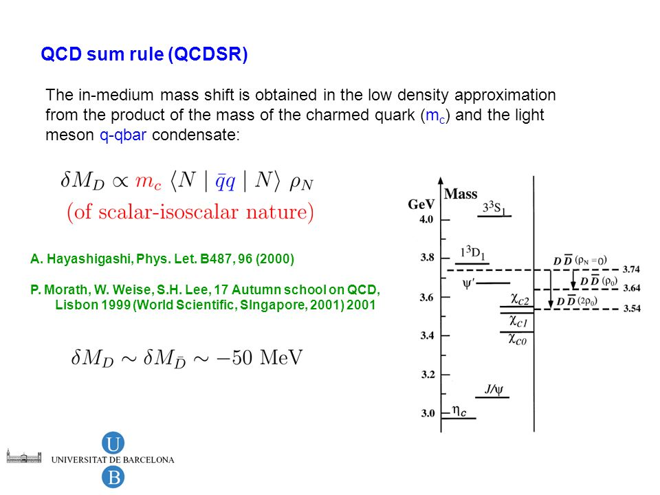 QCD sum rule (QCDSR) The in-medium mass shift is obtained in the low density approximation from the product of the mass of the charmed quark (m c ) an