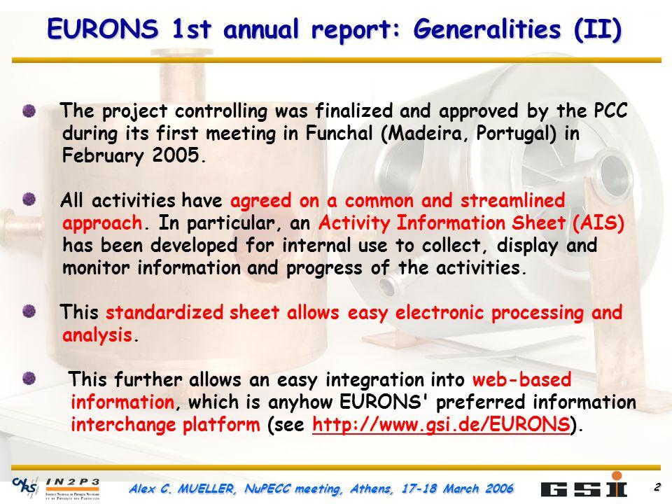 Alex C. MUELLER, NuPECC meeting, Athens, 17-18 March 2006 3 Milestones reached in 2005