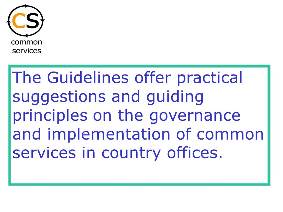 The Guidelines offer practical suggestions and guiding principles on the governance and implementation of common services in country offices.