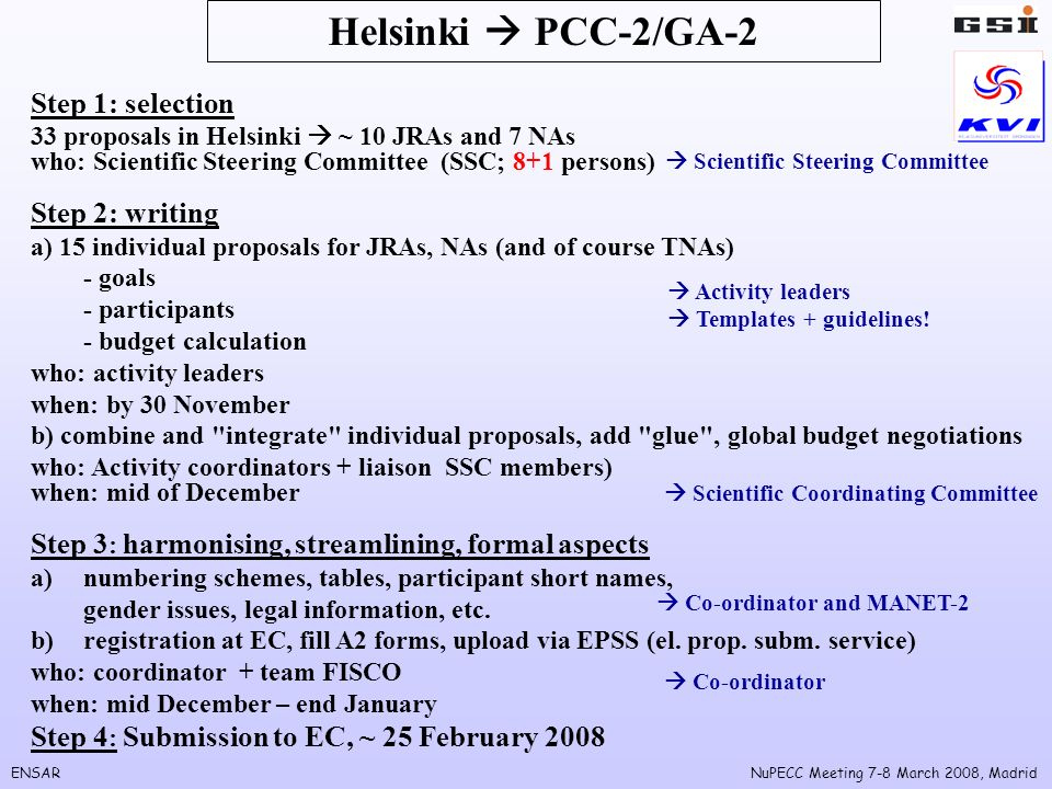 ENSARNuPECC Meeting 7-8 March 2008, Madrid Helsinki PCC-2/GA-2 Step 1: selection 33 proposals in Helsinki ~ 10 JRAs and 7 NAs who: Scientific Steering