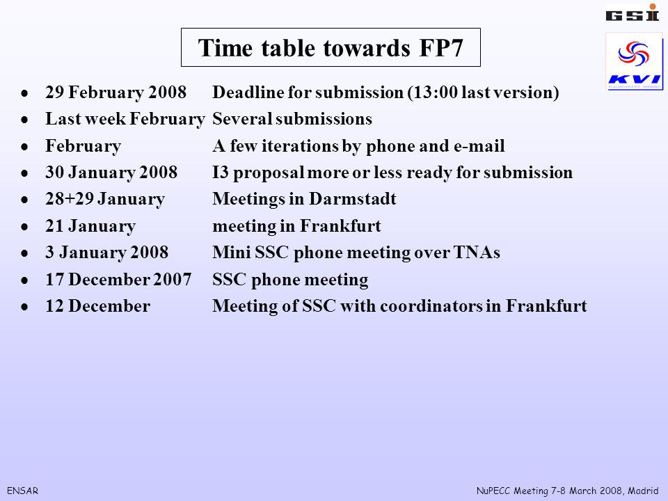ENSARNuPECC Meeting 7-8 March 2008, Madrid Time table towards FP7 29 February 2008Deadline for submission (13:00 last version) Last week FebruarySever