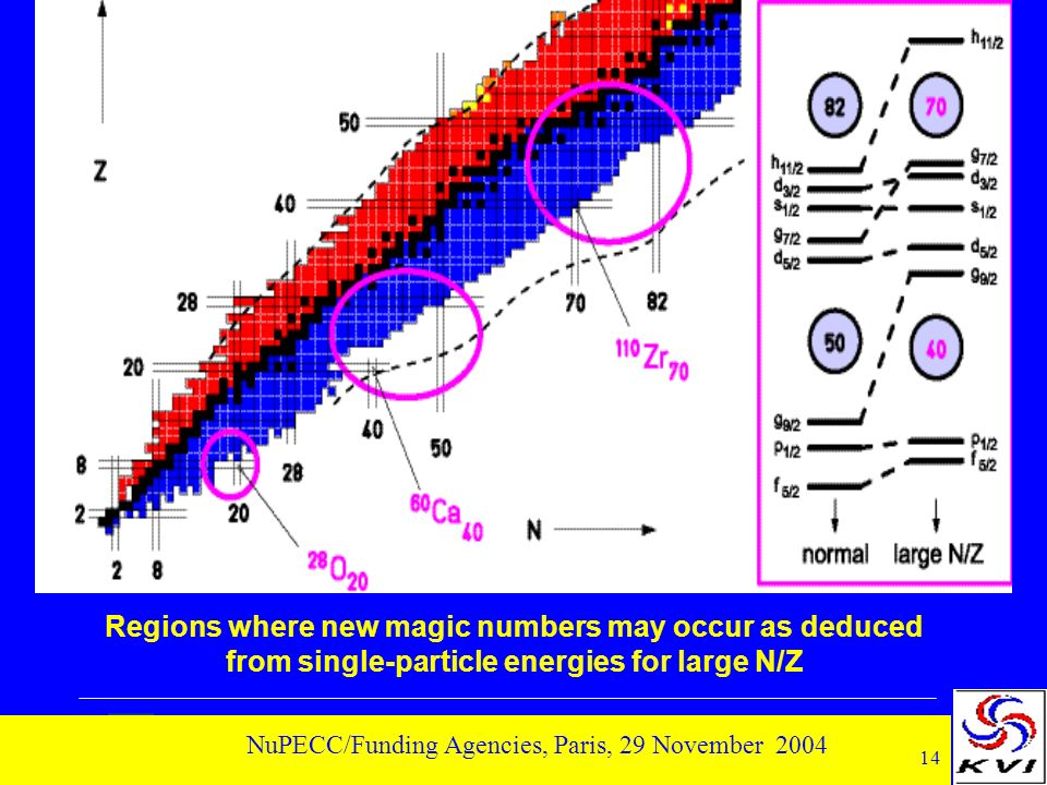 14 NuPECC/Funding Agencies, Paris, 29 November 2004 Regions where new magic numbers may occur as deduced from single-particle energies for large N/Z
