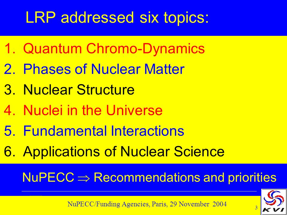 3 NuPECC/Funding Agencies, Paris, 29 November 2004 LRP addressed six topics: 1.Quantum Chromo-Dynamics 2.Phases of Nuclear Matter 3.Nuclear Structure
