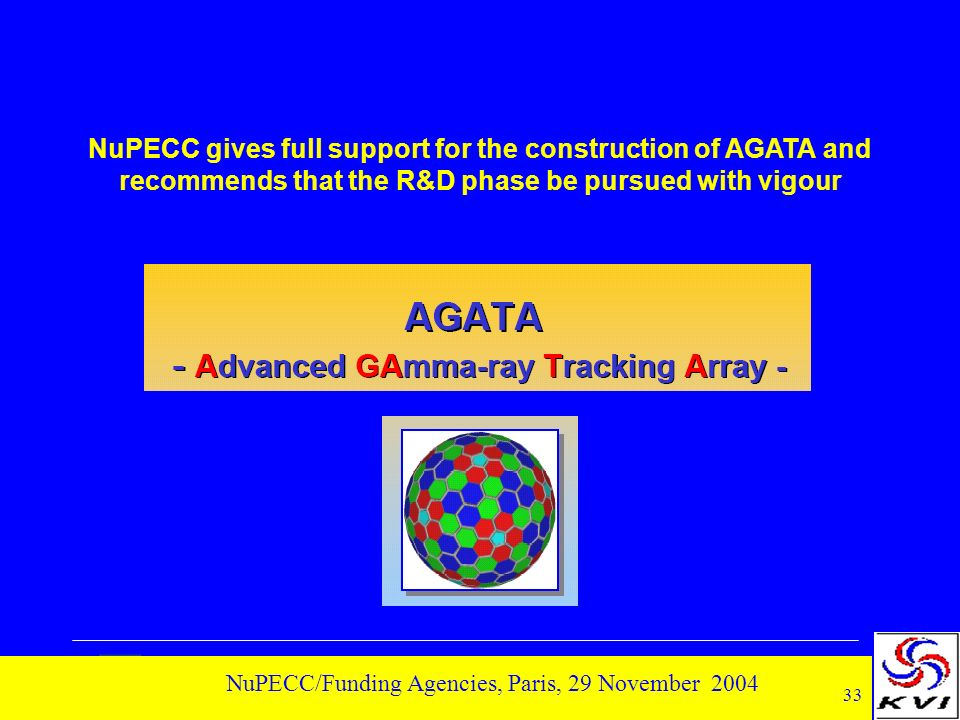 33 NuPECC/Funding Agencies, Paris, 29 November 2004 NuPECC gives full support for the construction of AGATA and recommends that the R&D phase be pursued with vigour