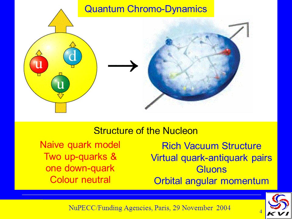 4 NuPECC/Funding Agencies, Paris, 29 November 2004 Rich Vacuum Structure Virtual quark-antiquark pairs Gluons Orbital angular momentum Structure of the Nucleon Naive quark model Two up-quarks & one down-quark Colour neutral Quantum Chromo-Dynamics