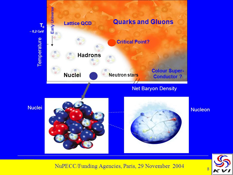 8 NuPECC/Funding Agencies, Paris, 29 November 2004 Temperature Net Baryon Density Quarks and Gluons Critical Point.