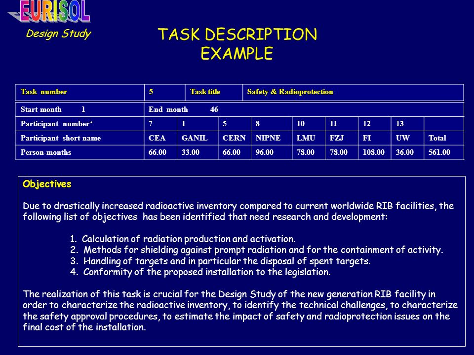 TASK DESCRIPTION EXAMPLE Design Study Objectives Due to drastically increased radioactive inventory compared to current worldwide RIB facilities, the following list of objectives has been identified that need research and development: 1.