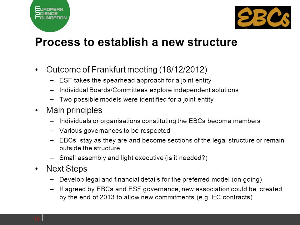Process to establish a new structure Outcome of Frankfurt meeting (18/12/2012) –ESF takes the spearhead approach for a joint entity –Individual Boards/Committees explore independent solutions –Two possible models were identified for a joint entity Main principles –Individuals or organisations constituting the EBCs become members –Various governances to be respected –EBCs stay as they are and become sections of the legal structure or remain outside the structure –Small assembly and light executive (is it needed?) Next Steps –Develop legal and financial details for the preferred model (on going) –If agreed by EBCs and ESF governance, new association could be created by the end of 2013 to allow new commitments (e.g.