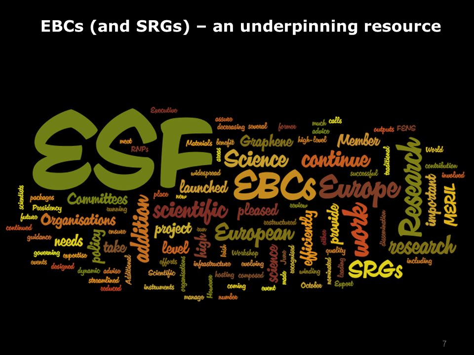 7 EBCs (and SRGs) – an underpinning resource