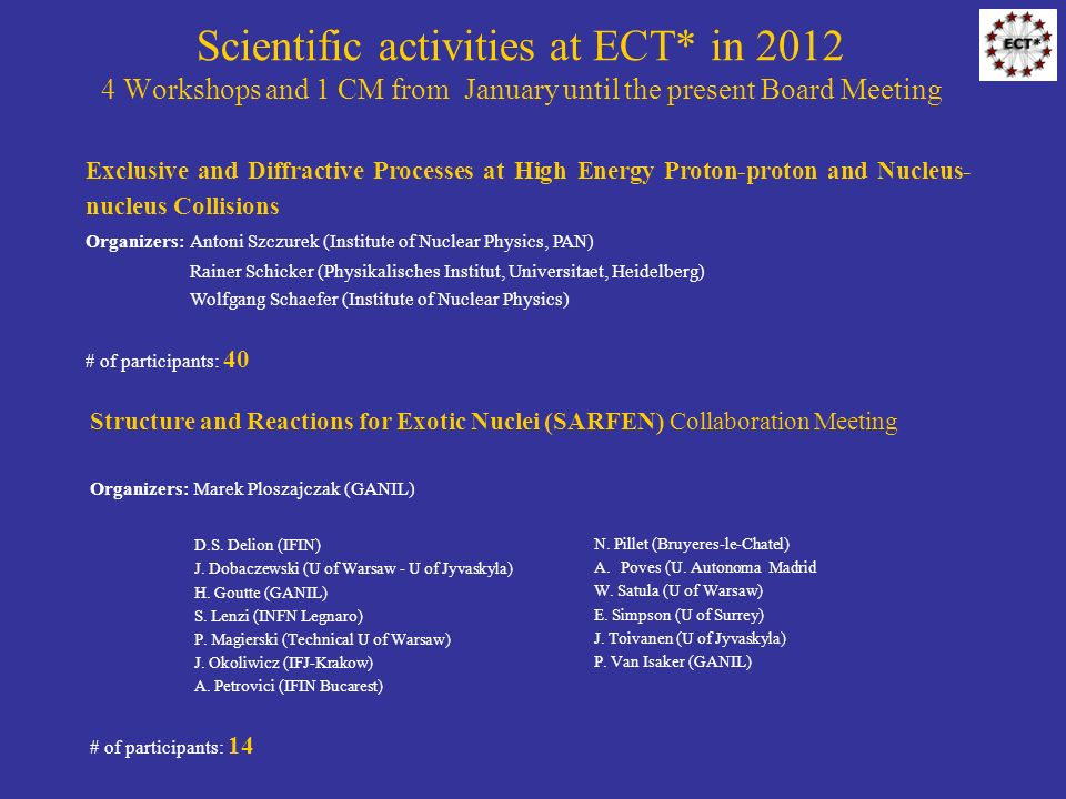 Scientific activities at ECT* in Workshops and 1 CM from January until the present Board Meeting Structure and Reactions for Exotic Nuclei (SARFEN) Collaboration Meeting Organizers: Marek Ploszajczak (GANIL) D.S.