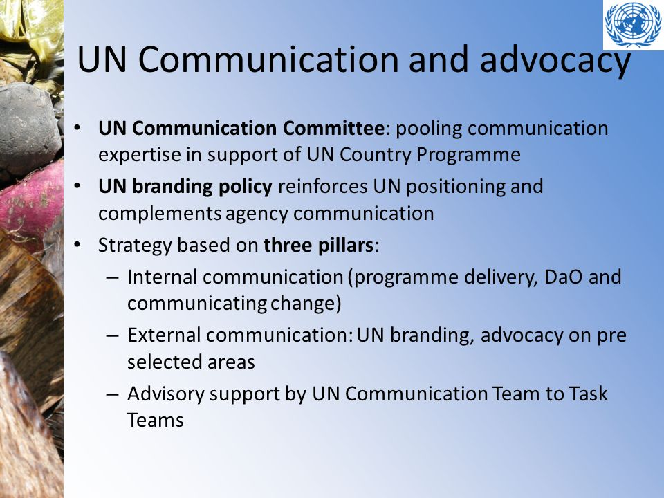 UN Communication and advocacy UN Communication Committee: pooling communication expertise in support of UN Country Programme UN branding policy reinfo