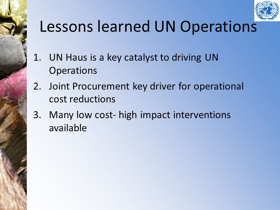 Lessons learned UN Operations 1.UN Haus is a key catalyst to driving UN Operations 2.Joint Procurement key driver for operational cost reductions 3.Many low cost- high impact interventions available